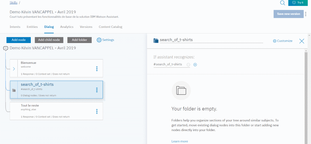 IBM Watson Assistant - Add Folder for search