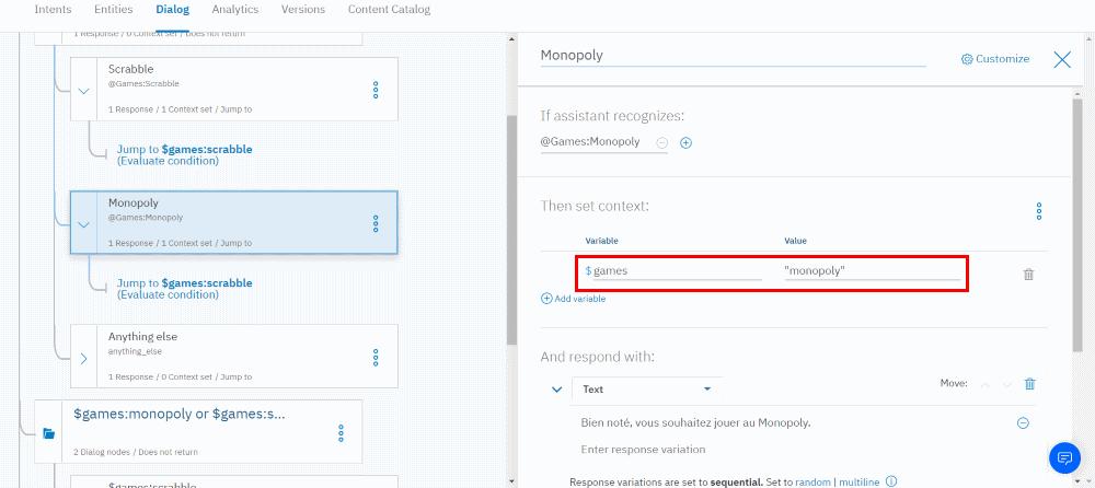 IBM Watson Assistant - Dialog - Open context editor - monopoly